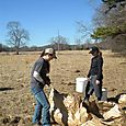 Melissa and Lizzy preparing buckets with trees